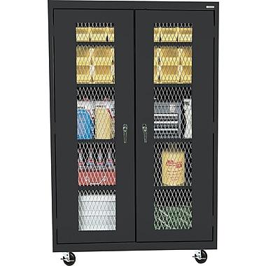 Sandusky Mobile Metal Front Cabinet, Black, 78in.H x 46in.W x 18in.D