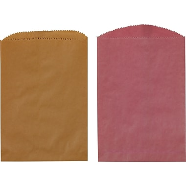 Wisconsin Converting Paper 15in.H x 12in.W Shopping Bags, Brown/Pink, 1000/Case