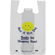 "Staples "" Have a Nice Day"" Smiley Face Pre-Printed T-shirt Bags 1,000/Case (#1705)"