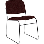 Global Custom Chrome Stack Chair, Cabernet, Premium Grade