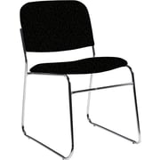 Global Custom Chrome Stack Chair, Black, Premium Grade