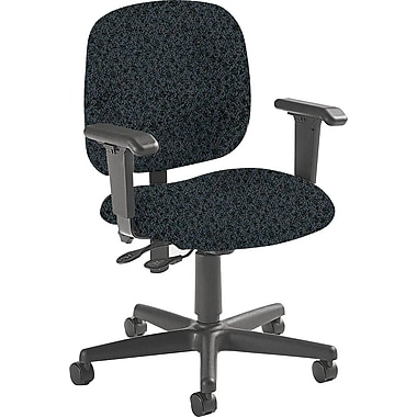 Global Mid-Back Fabric Task Chair, Adjustable Arms, Graphite
