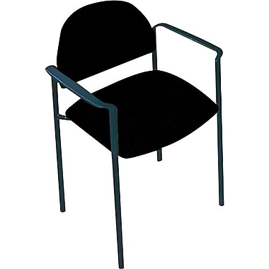 Global Custom Comet Stacking Reception Chair with Arms, Black, Premium