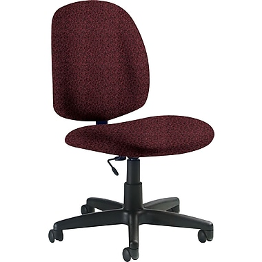 Global Custom Medium Back Armless Task Chair, Cabernet, Premium Grade