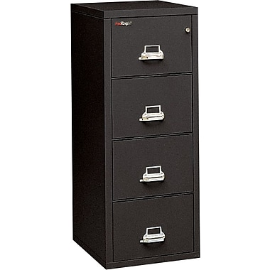 FireKing 2-Hour 4-Drawer Fire Resistant Vertical File Cabinet, Letter Size, Loading Dock, Black