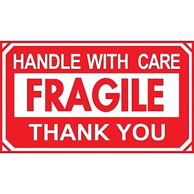 Étiquettes de manutention « fragile, manipuler avec soin, merci », 5 po x 3 po, 500/rouleau