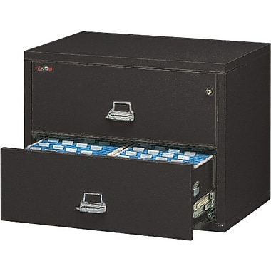 FireKing 1-Hour 2-Drawer 31in. Fire Resistant Lateral File Cabinet, Black, Inside Delivery