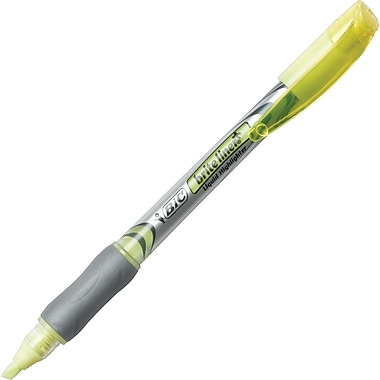 BIC® Brite Liner®+ Liquid Highlighters, Yellow, Dozen