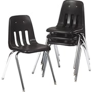 Virco® 9000 Series Plastic Stacking Chairs, 4/Pack, Black