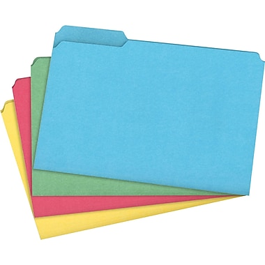 Staples 100% Recycled Colored File Folders, Legal, 3 Tab, Assorted Positions, 50/Box