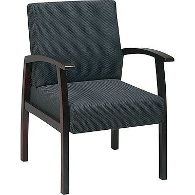 Office Star Charcoal Fabric with Mahogany Finish Wood Guest Chair