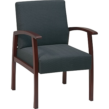Office Star Charcoal Fabric with Cherry Finish Wood Guest Chair