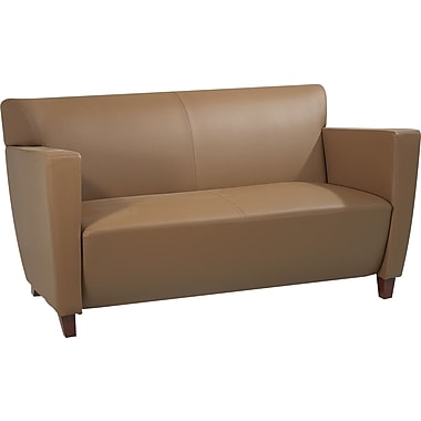 Office Star Taupe Leather Loveseat