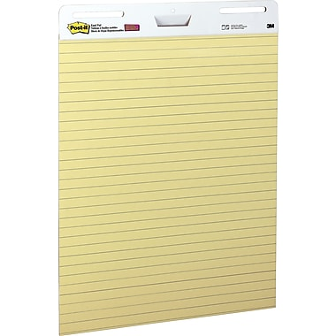 Post-it® Self Stick Easel Pad, Yellow with Faint Blue Lines, 25