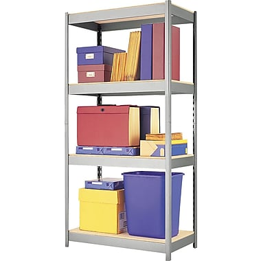 Hirsh Boltless Steel Shelving, 4 Shelves, Silver, 60in.H x 30in.W x 16in.D