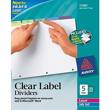 Avery® Index Maker Clear Label Tab Dividers, 5-Tab, Pastel Colors, 25 Sets/Pack