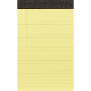 Staples 5in.x8in. Double Pad, Canary, Narrow Ruled, 6/Pack