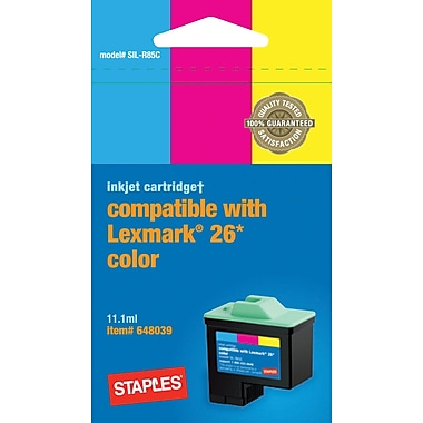 Staples® Remanufactured Color Ink Cartridge Compatible with Lexmark® 26