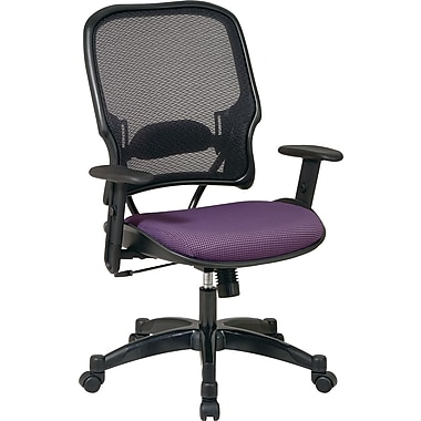 SPACE® Deluxe Air Grid™ Mesh Managers Chair, Purple Seat