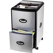Storex® 2-Drawer Vertical Mobile File Cabinet, Black/Silver, Letter (61352U01C)