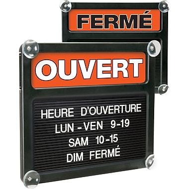 HeadLine Sign – Tableau Tabbee à double face 4045, Ouvert/Fermé, français, panneau noir, 13 po x 15 po