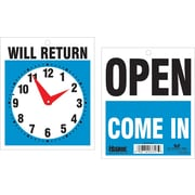 "Headline Sign® Double-Sided ""Will Return"" with Clock Sign, 7-1/2"" x 9"""