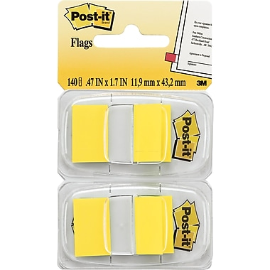 Post-it® - Languettes adhésives, 1 po, jaunes, paq./2