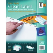 Avery(R) Index Maker(R) Clear Label Dividers 11435, White, 3-Tabs, 5 Sets