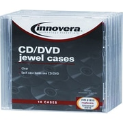 CD/DVD Standard Jewel Cases, Clear, 10/Pk
