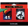Lexmark 41/42 Color and Black Ink Cartridges (18YO238), 2/Pack