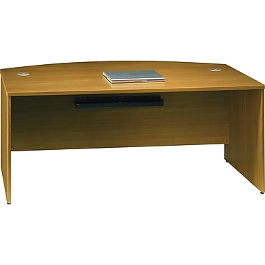 Bush Quantum 72in.W Bowfront Desk Shell, Modern Cherry, Installed