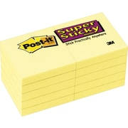 "Post-it® Super Sticky Notes, 2"" x 2"", Canary Yellow, 10 Pads/Pack (622-10SSCY)"