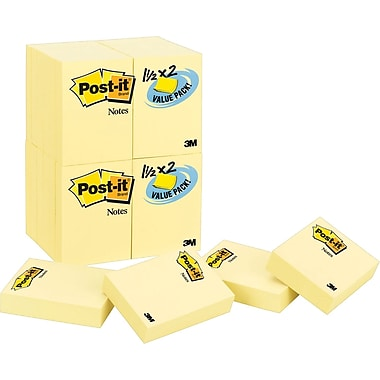 Post-it® 1-1/2in. x 2in. Canary Yellow Notes, 24 Pads/Pack