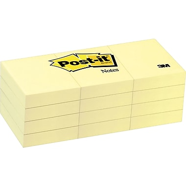 Post-it® 1-1/2in. x 2in. Canary Yellow Notes, 12 Pads/Pack