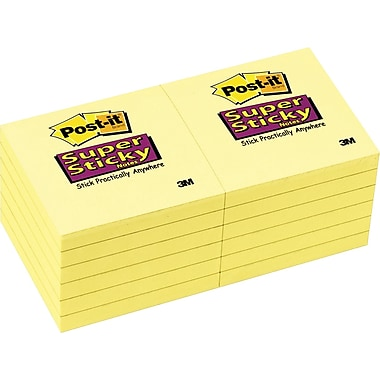 Post-it® Super Sticky 3in. x 3in. Canary Yellow Notes, 12/Pack
