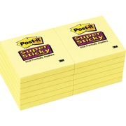 "Post-it® Super Sticky Notes, 3"" x 3"", Canary Yellow, 12 Pads/Pack (65412SSCY)"