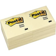 "Post-it® Notes, 3"" x 3"", Canary Yellow, 12 Pads/Pack (654-12YW)"