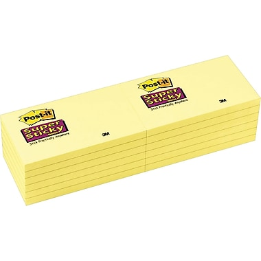 Post-it® Super Sticky 3in. x 5in. Canary Yellow Notes, 12 Pads/Pack