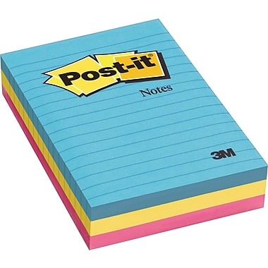 Post-it® 4in. x 6in. Line-Ruled Ultra Colors Notes, 3 Pads/Pack