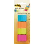 "Post-it® 1"" x 1-3/4"" Neon Page Markers, 200 Flags/Pack"