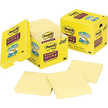 Post-it® Super Sticky 4in. x 4in. Line-Ruled Canary Yellow Notes, 12 Pads/Pack