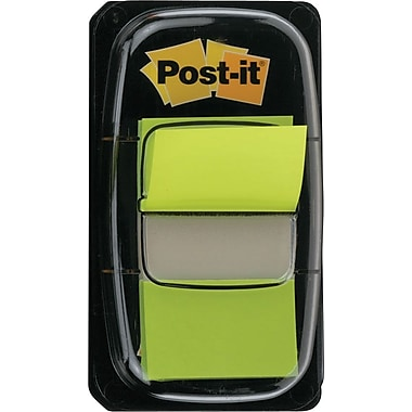 Post-it® 1in. Bright Green Flags with Pop-Up Dispenser, 2/Pack