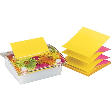 Post-it® 3in. x 3in. Designer Series Pop-Up Note Dispenser with Daisy Insert, Each