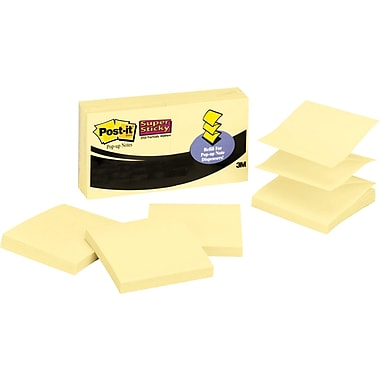 Post-it® 2in. x 2in. Super Sticky Canary Yellow Pop-Up Notes, 20 Pads/Pack