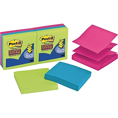 Post-it® Super Sticky 3in. x 3in. Ultra Colors Pop-Up Notes, 6/Pack