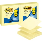 "Post-it® Pop-up Notes, 3"" x 3"", Canary Yellow, 12 Pads/Pack (R330-YW)"