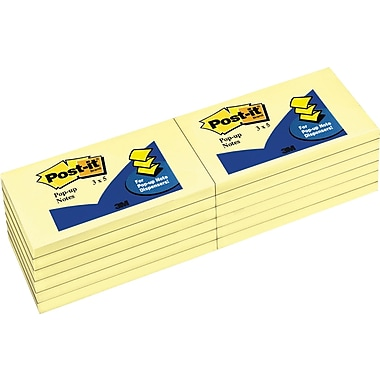 Post-it® 3in. x 5in. Canary Yellow Pop-Up Notes, 12 Pads/Pack
