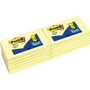 "Post-it® 3"" x 5"" Canary Yellow Pop-Up Notes, 12 Pads/Pack"
