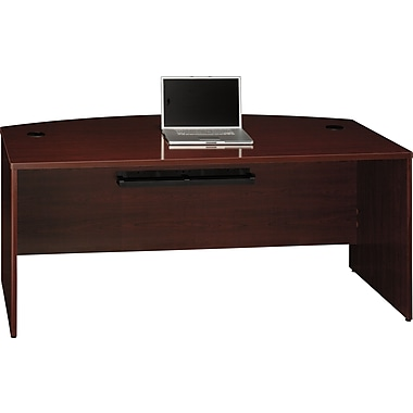 Bush Quantum 72in.W Bow Front Desk, Harvest Cherry