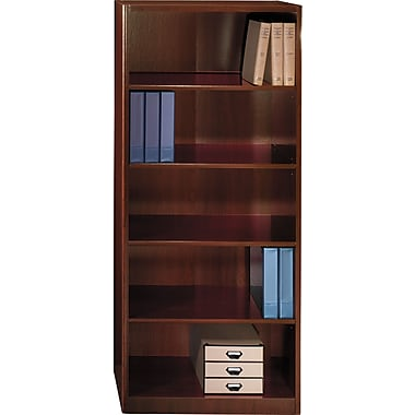 Bush Quantum 30in.W 5-Shelf Bookcase, Harvest Cherry, White Glove